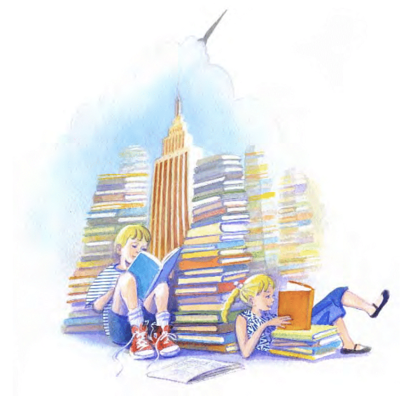 Girl and boy reading amongst colorful pile of books.