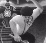 Black and white; John Henry hammering at railroad.