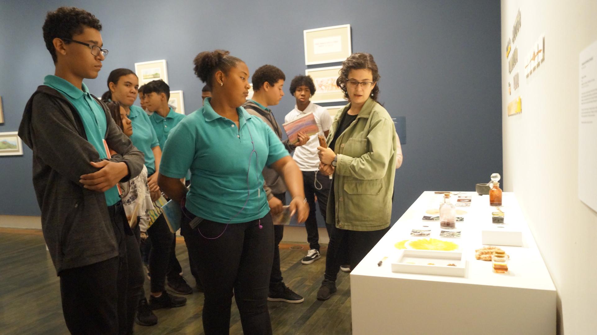 Estudiantes de la escuela Rafael M de Labra en exhibición Trabajo de Campo de Rosaura Rodriguez en el MAC