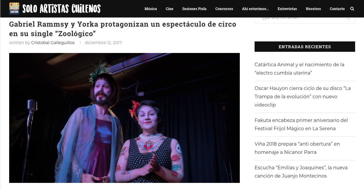 SOLO ARTISTAS CHILENOS 12/12/2017