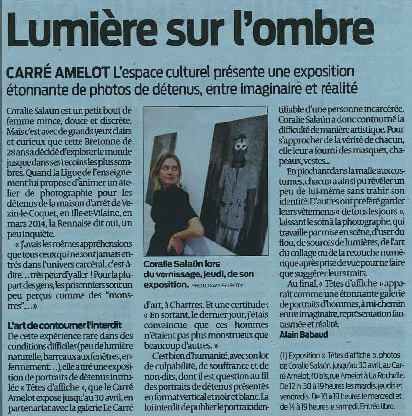 """Artcile exposition Carré amelot, La Rochelle """"Têtes d'affiche"""""""