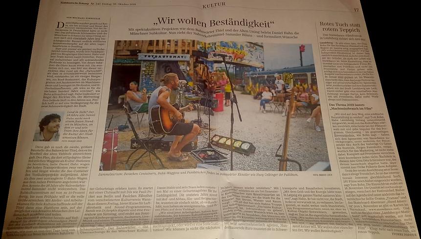 Artikel SueddeutscheZeitung 26.10.2018 Bahwaerter Thel Muenchen Deutchland Zeitung Kultur Colbinger Subkultur