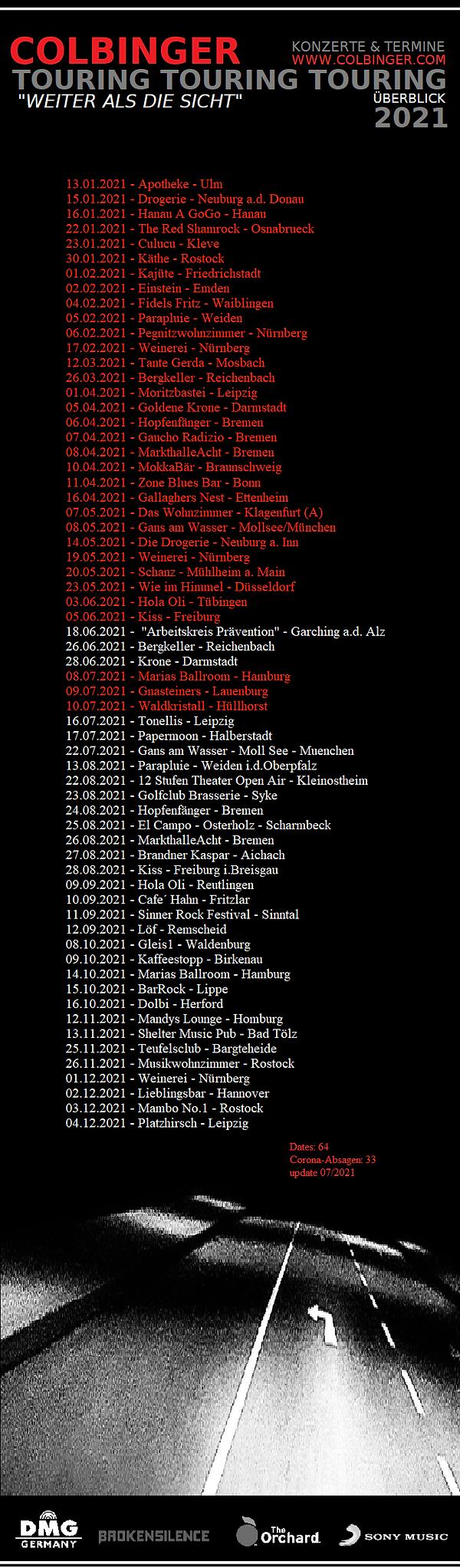 Colbinger Tour&Dates2021 Overview 7/2021