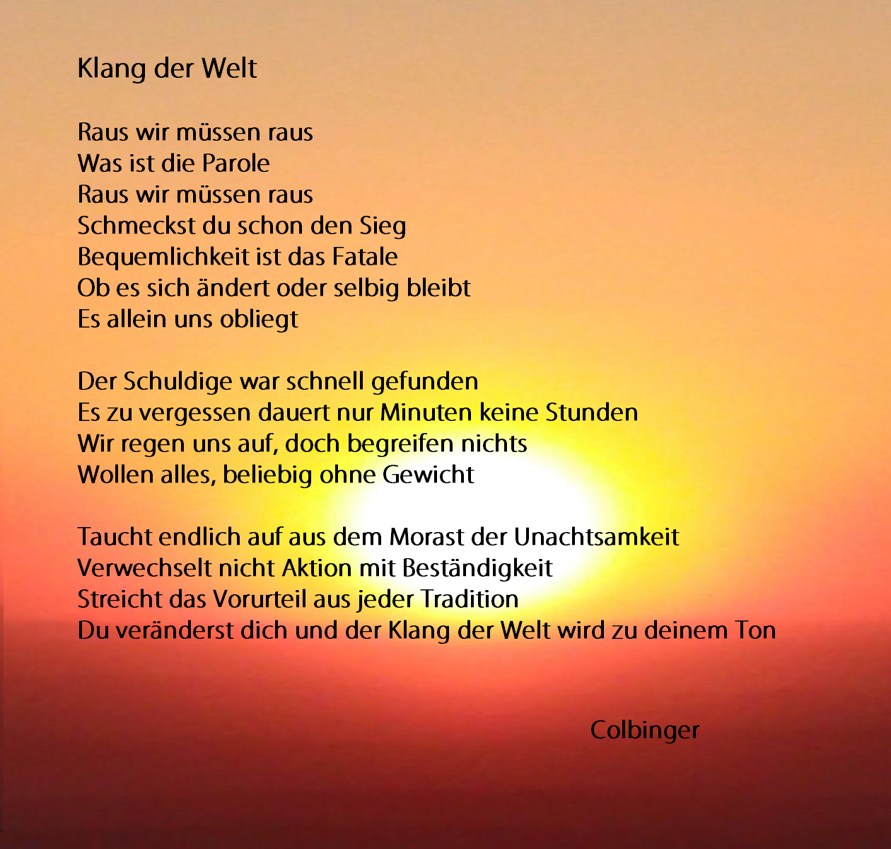 Gedicht Welt