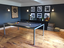 TPM Property Services - Games room and dining room with sold oak flooring, farrow and ball downpipe painted walls