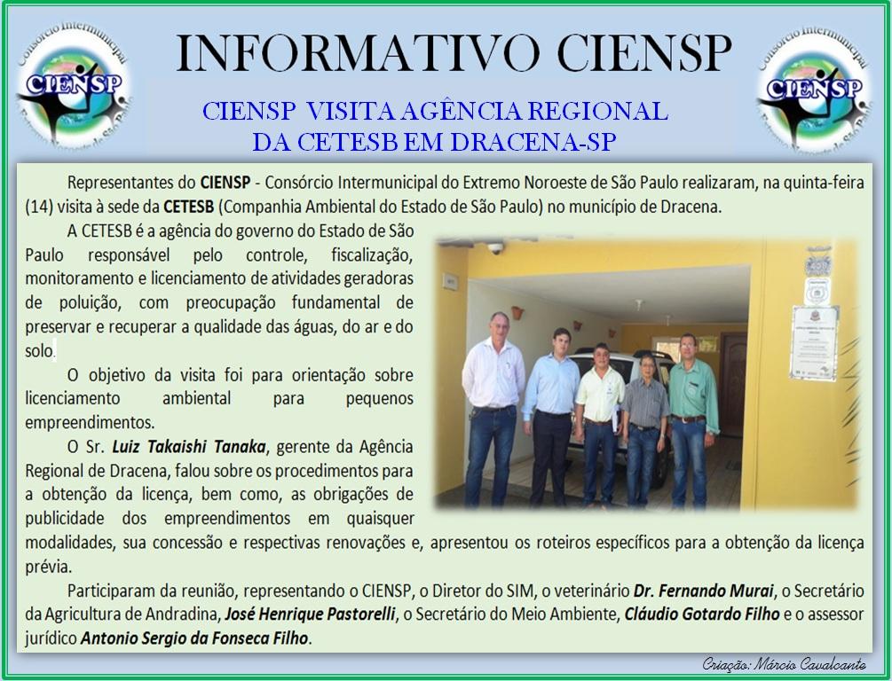 INFORMATIVO VISITA A CETESB DRACENA