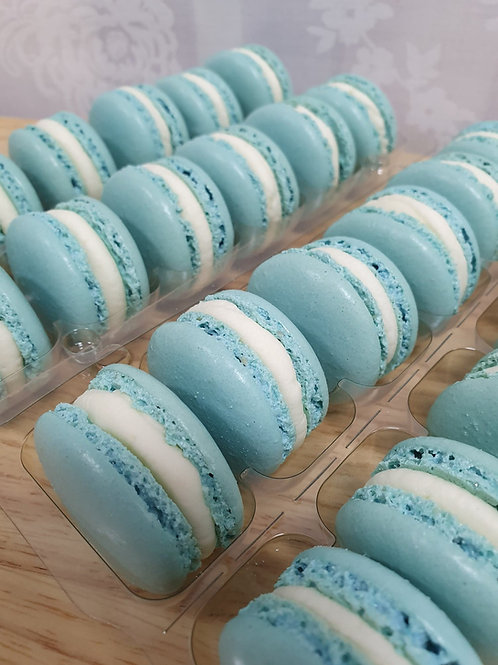 Box of 12 Baby Blue Macarons