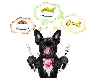 hond met mes en vork nadenkt wat ga ik e