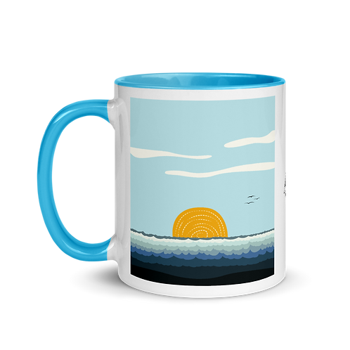 Ocean Ripples Mug with Color Inside