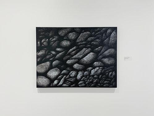 "An Assemblage of Ashy Rocks - 40""W x 30""H x 1.5""D"