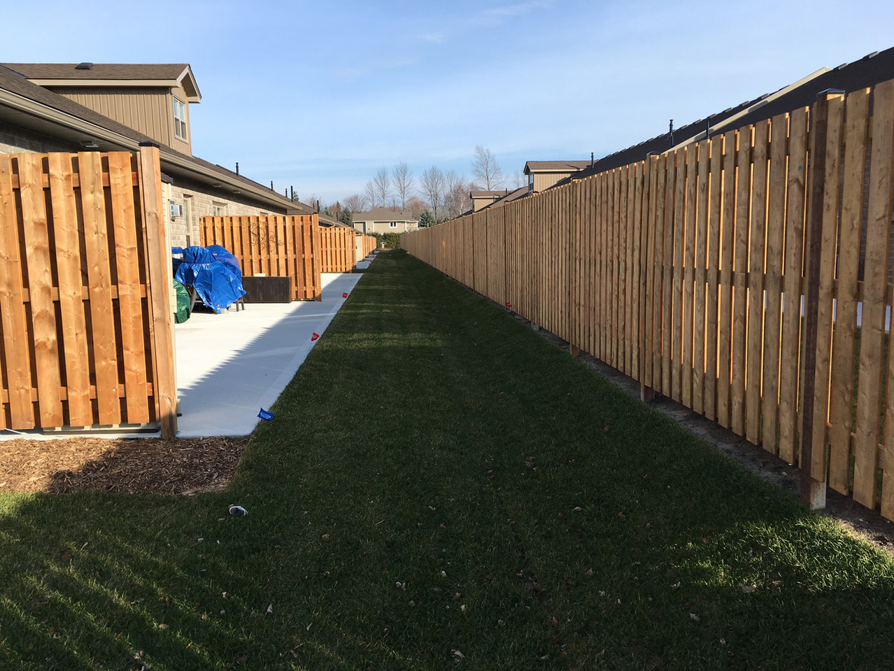 Privacy fencing between every unit.