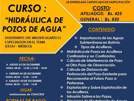 """CURSO """"HIDRÁULICA DE POZOS DE AGUA"""""""