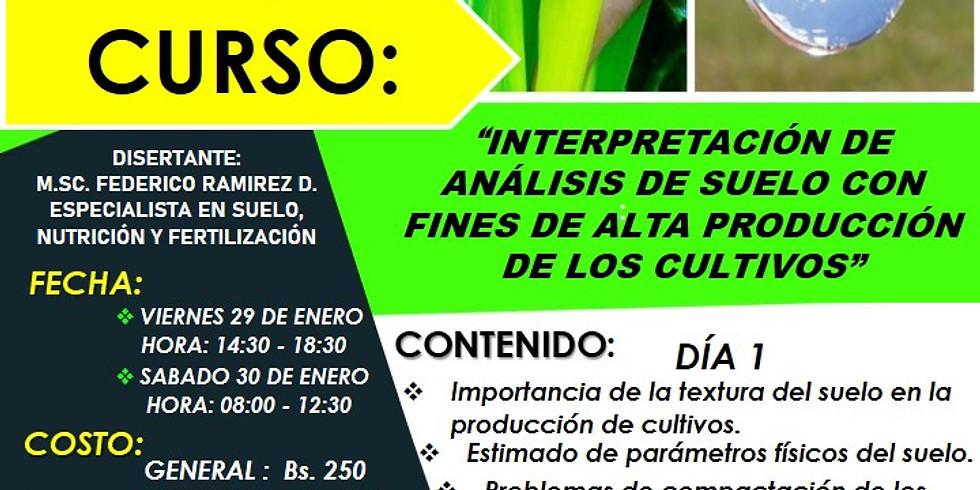 """CURSO """"INTERPRETACIÓN DE ANÁLISIS DE SUELO CON FINES DE ALTA PRODUCCIÓN DE LOS CULTIVOS"""""""