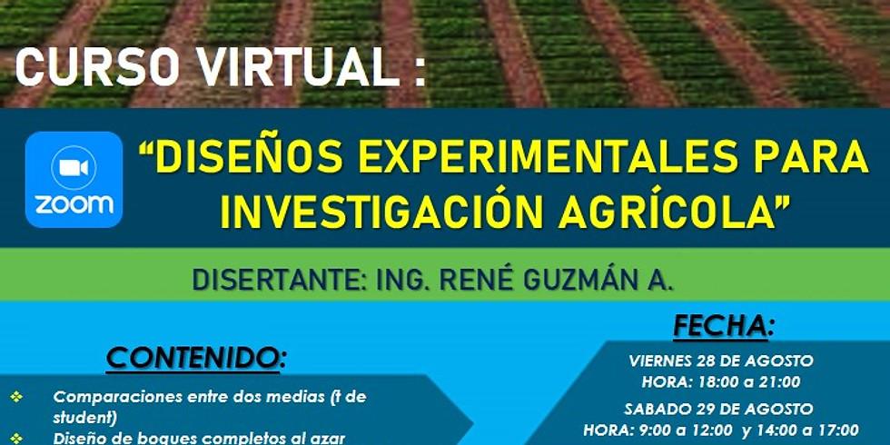 "CURSO VIRTUAL: ""DISEÑOS EXPERIMENTALES PARA INVESTIGACIÓN AGRÍCOLA"""