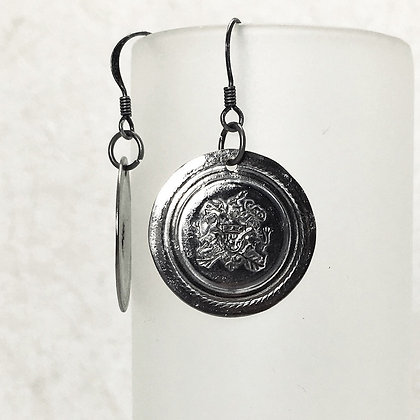 Silver Tone Smashed Button Earrings