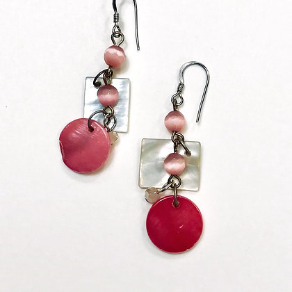 Pink and White Mother-of-Pearl Earrings