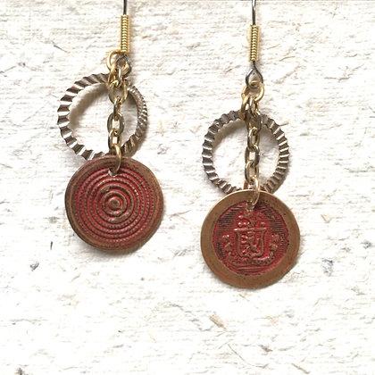 Vintage Red Button & Hoop Earrings