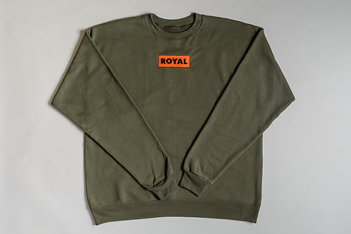 Royal SNA: Block Logo crew sweater soldier green/orange/black