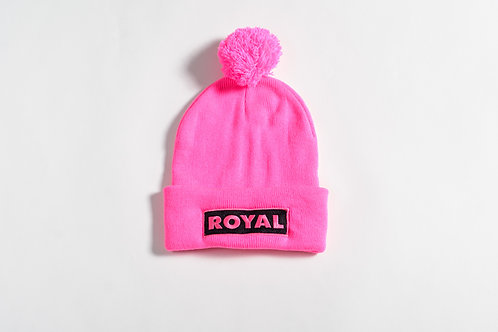 Royal SNA: Box Logo Pom Beanie Electric Pink/Black
