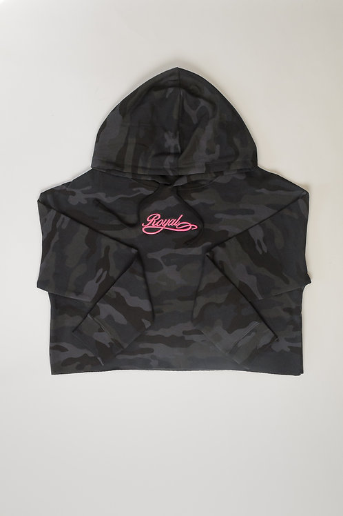 Royal SNA:Script cropped hoodie umbra camo/electric pink