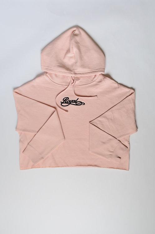 Royal SNA:Script cropped hoodie blush pink/black