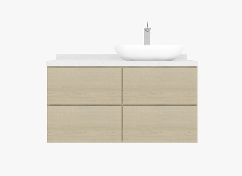 WINSTON 1.20m vanity cabinet 4 drawers with basin and tap