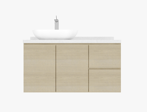 BURSWOOD 1.20m vanity cabinet hybrid with basin and tap