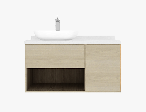 RICKLAND 1.20m vanity cabinet hybrid with basin and tap