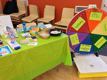 Sexual health games, prizes, and education materials from our Youth Advisory Board outreach.
