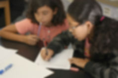 Students in our Youth Services program collaborating to complete an assignment.