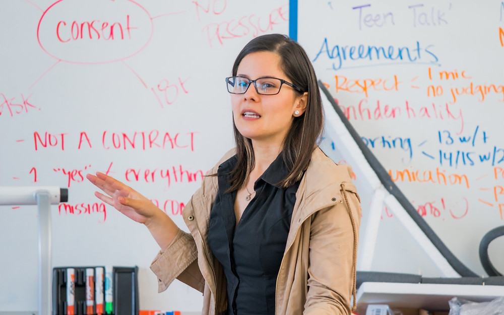 Health Educator, Bianca Maldonado, leads a class about consent with 7th graders near Silicon Valley