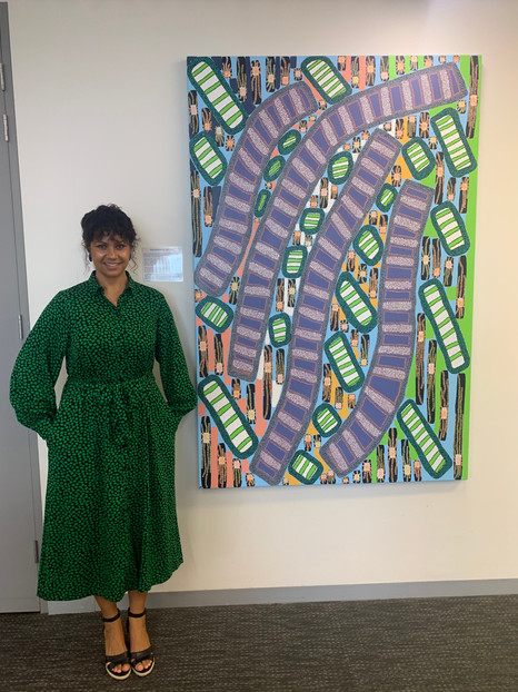 Artist Josie Rose with her painting.