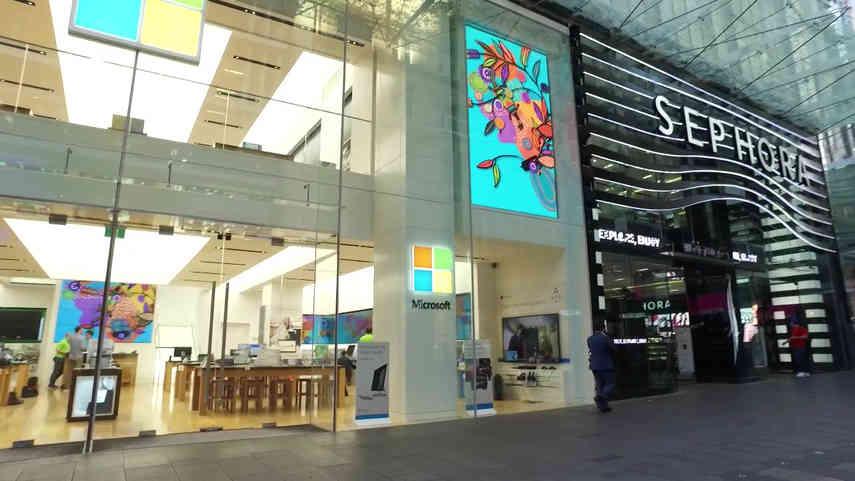 Sydney Microsoft Store Aboriginal Art Video Walls