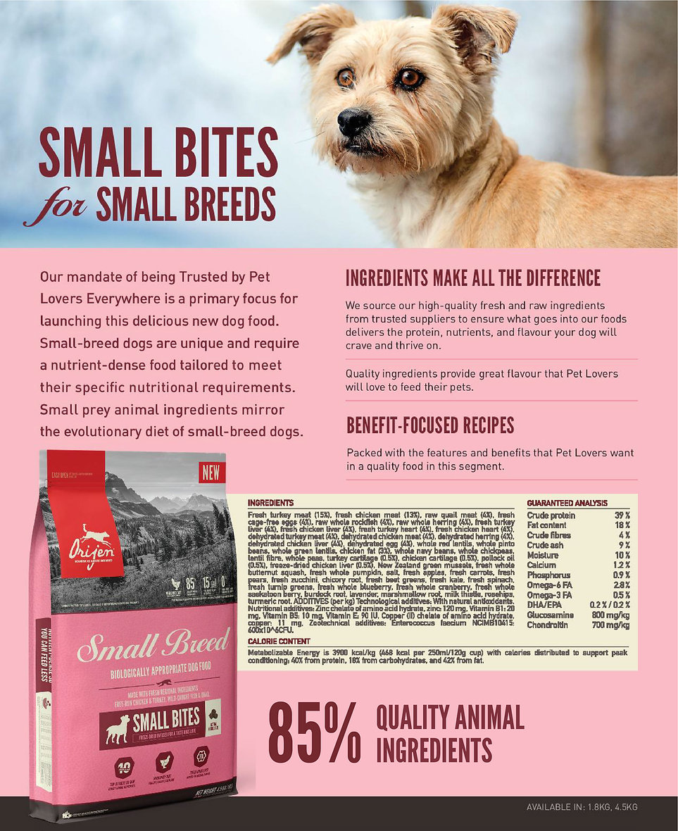 NS ORIJEN Small Breed Dog website writeu
