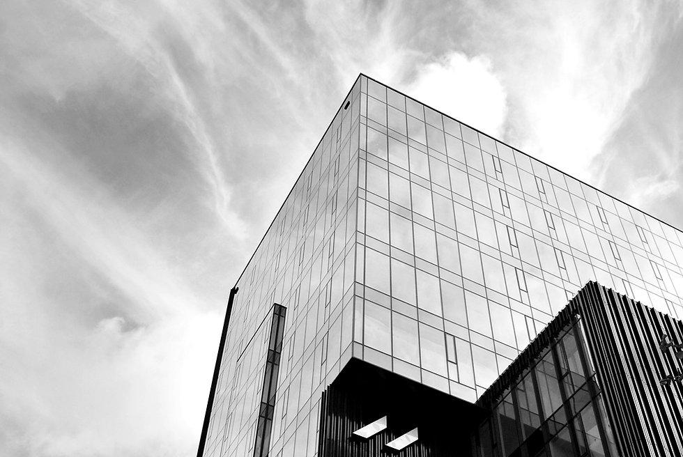 Glass windows of office building. Black