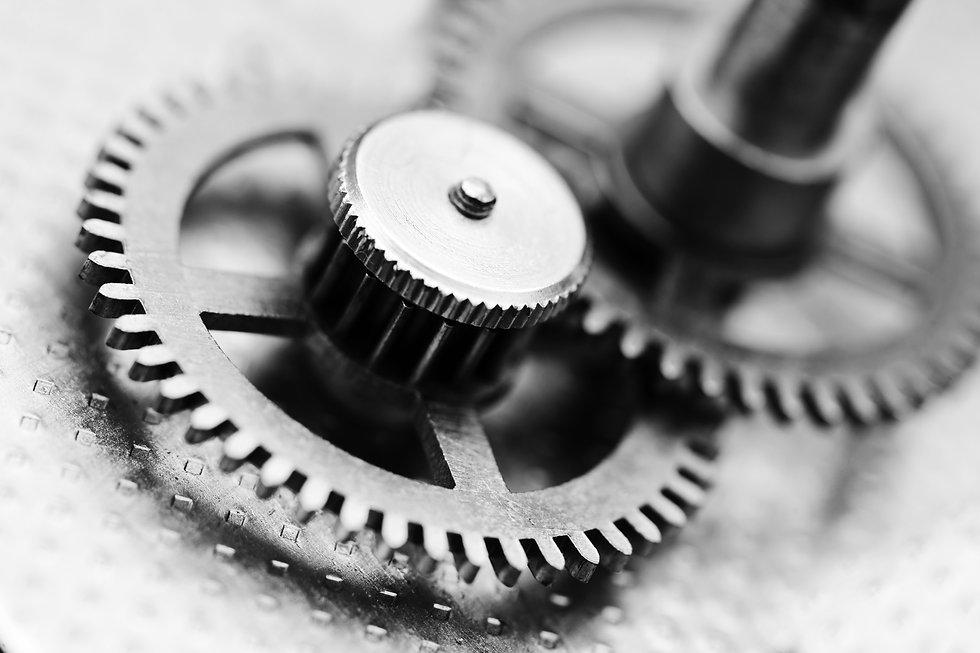 Clock mechanism, black and white photo.j
