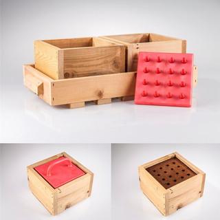 Tavă lemn cu 2 cutii pătrate
