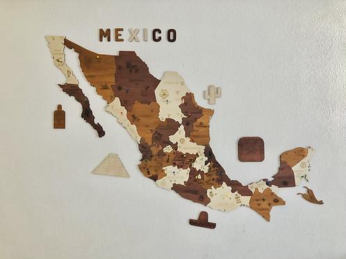 Wooden TM Pueblos Mágicos México con Dibujos - Grande - Vintage