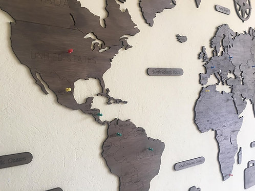 Wooden Travel Map World - Military