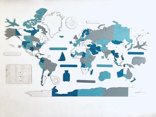 Wooden Travel Map World Superstar Greece