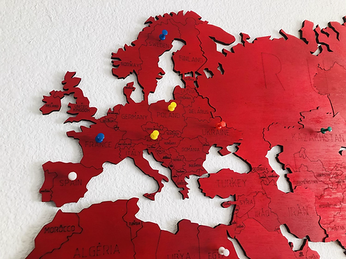 Wooden Travel Map World - Red