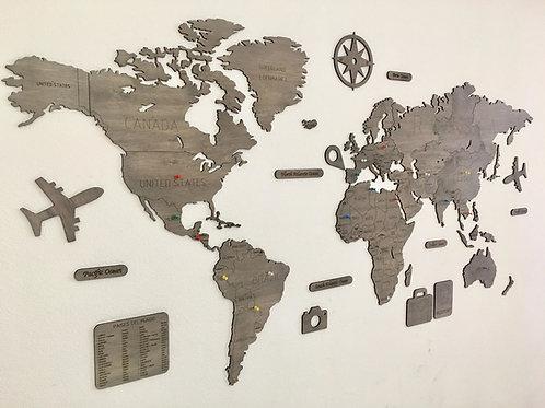 Wooden Travel Map World - Titanio