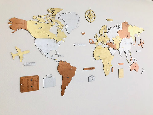 Wooden Travel Map World - Multicolor Limited Edition