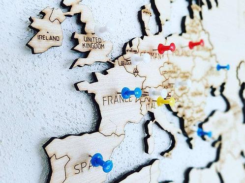 Paquete 1 Mapa y Wooden World Globe
