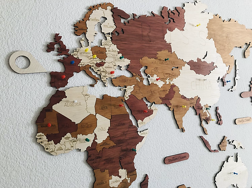 Wooden Travel Map World Puzzle - Tricolor Vintage