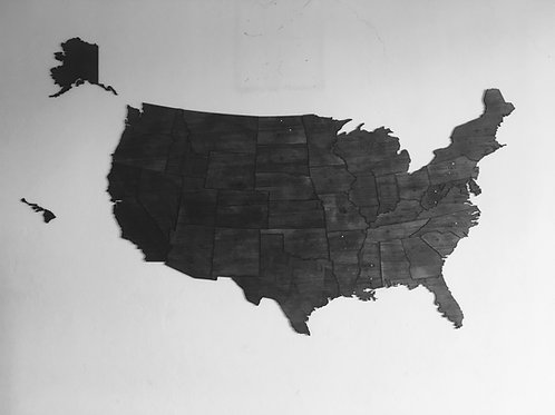 Wooden Travel Map USA - Color Negro