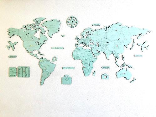 Wooden Travel Map World - Mint