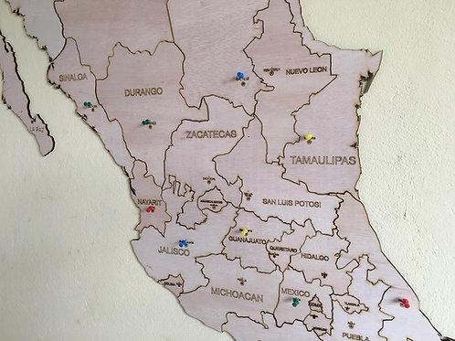 Wooden Travel Map Pueblos Mágicos y México Estados - Paquete