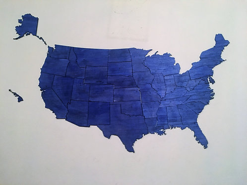 Wooden Travel Map USA - Color Azul