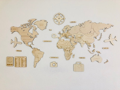 Wooden Travel Map World Mini
